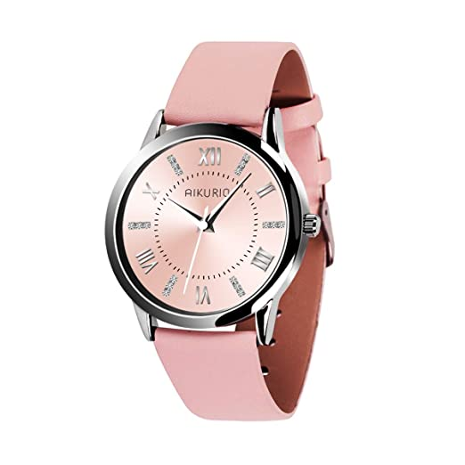 f70484610 AIKURIO Women's Wrist Watch Analog Quartz with Leather Strap and Crystal  Dial 30M Waterproof Classic Daily Style AKR001: Amazon.co.uk: Watches