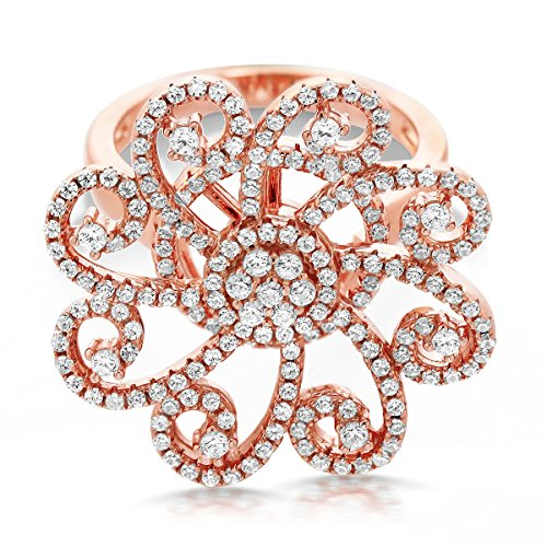 Gem Stone King Rose Gold Plated 925 Sterling Silver White CZ Spinning Art Deco Roulette Cocktail Ring (Size 8) ()