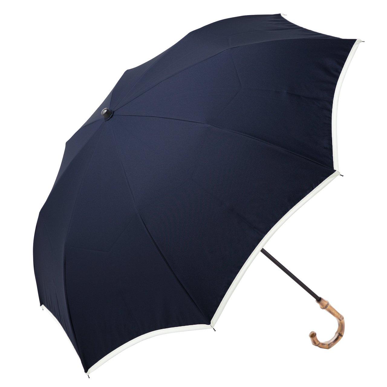 【Rose Blanc】100%完全遮光 日傘 晴雨兼用 パイピング(傘袋付) 2段折りたたみ 50cm (ネイビー×アイボリー) B06XTDM946ネイビー×アイボリー