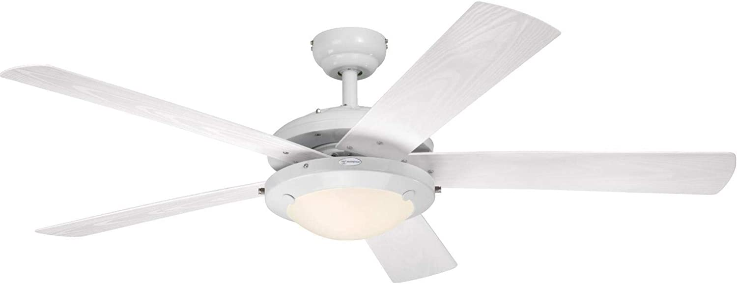 Westinghouse Lighting 7230200 Comet Indoor/Outdoor Ceiling Fan with Light, White