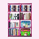 Flyerstoy 8-Cubes Bookcase,DIY Adjustable Cabinet Bookshelf,Kids Office Bookshelf Closet Shelf Home Furniture Storage
