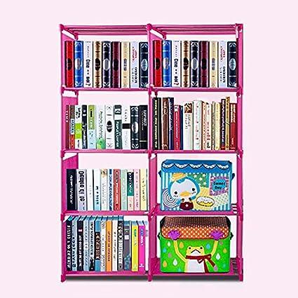 Flyerstoy 8-Cubes Bookcase, DIY Adjustable Cabinet Bookshelf, Kids Office Bookshelf Closet Shelf Home Furniture Storage