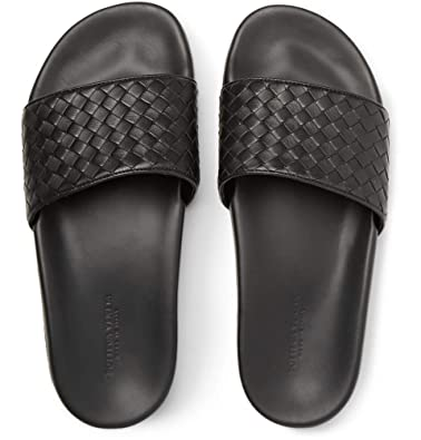 ad874a4114747a Bottega Veneta Intrecciato Leather Slides Sandals Beach Shoes Slippers Black  (UK 6 40)
