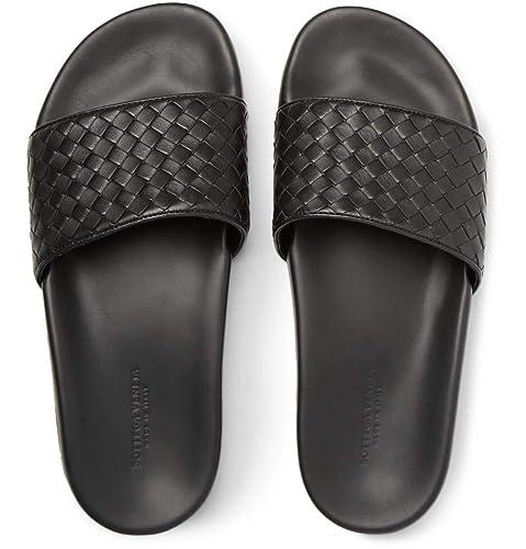 88e877582054 Bottega Veneta Intrecciato Leather Slides Sandals Beach Shoes Slippers  Black (6 UK)