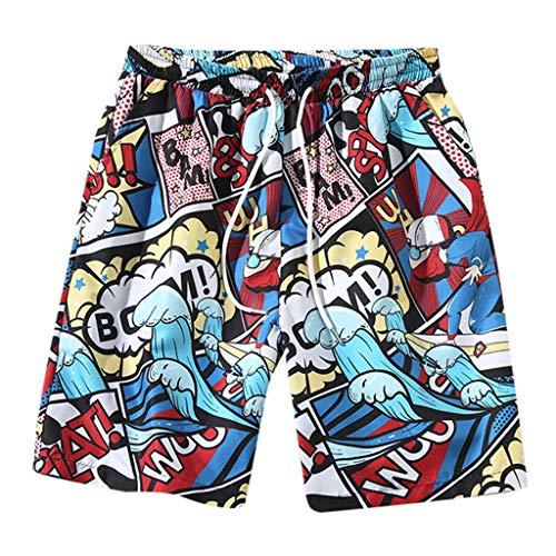 (Tomppy Men's Big and Tall Casual Shorts Summer Graphic Printed Beach Shorts Elastic Waist Drawstring Short Pants Red)