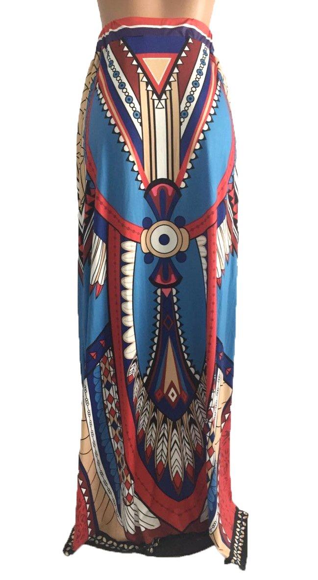 Playworld Women African Printed Casual High Waisted A Line Maxi Long Skirt