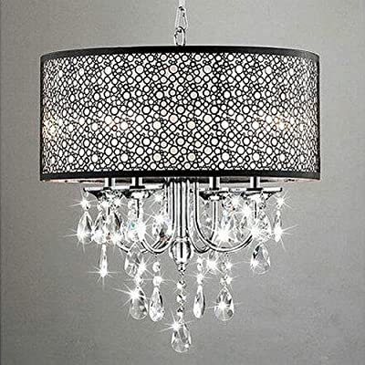 LightInTheBox MAX 60W Traditional/Classic Crystal Chrome Metal Chandeliers Black Drum Bubble Shade Ceiling Light Voltage=110-120V