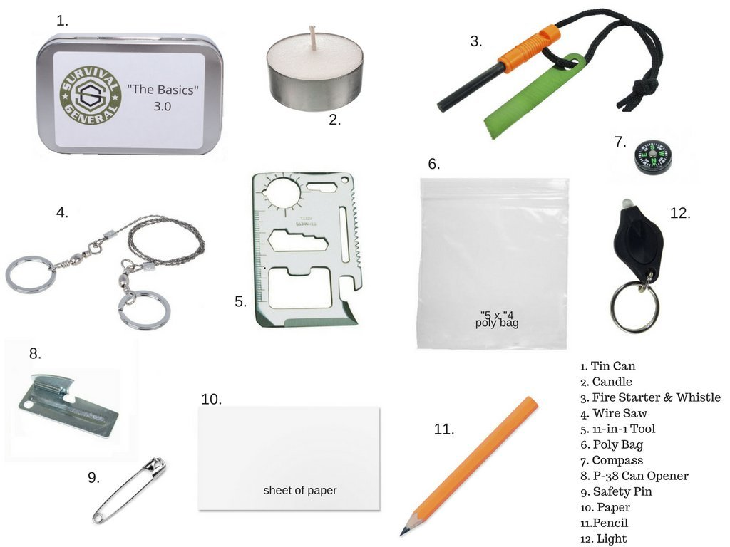 Survival General 12 Piece Mini Pocket Ultimate Zombie Wiring Diagram Starter Compass Emergency Disaster Kit Tin Gear Sports Outdoors