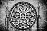 Gothic Stained Glass Window, Art Print, Home, Wall Decor, New York City, Black and White, City Streets