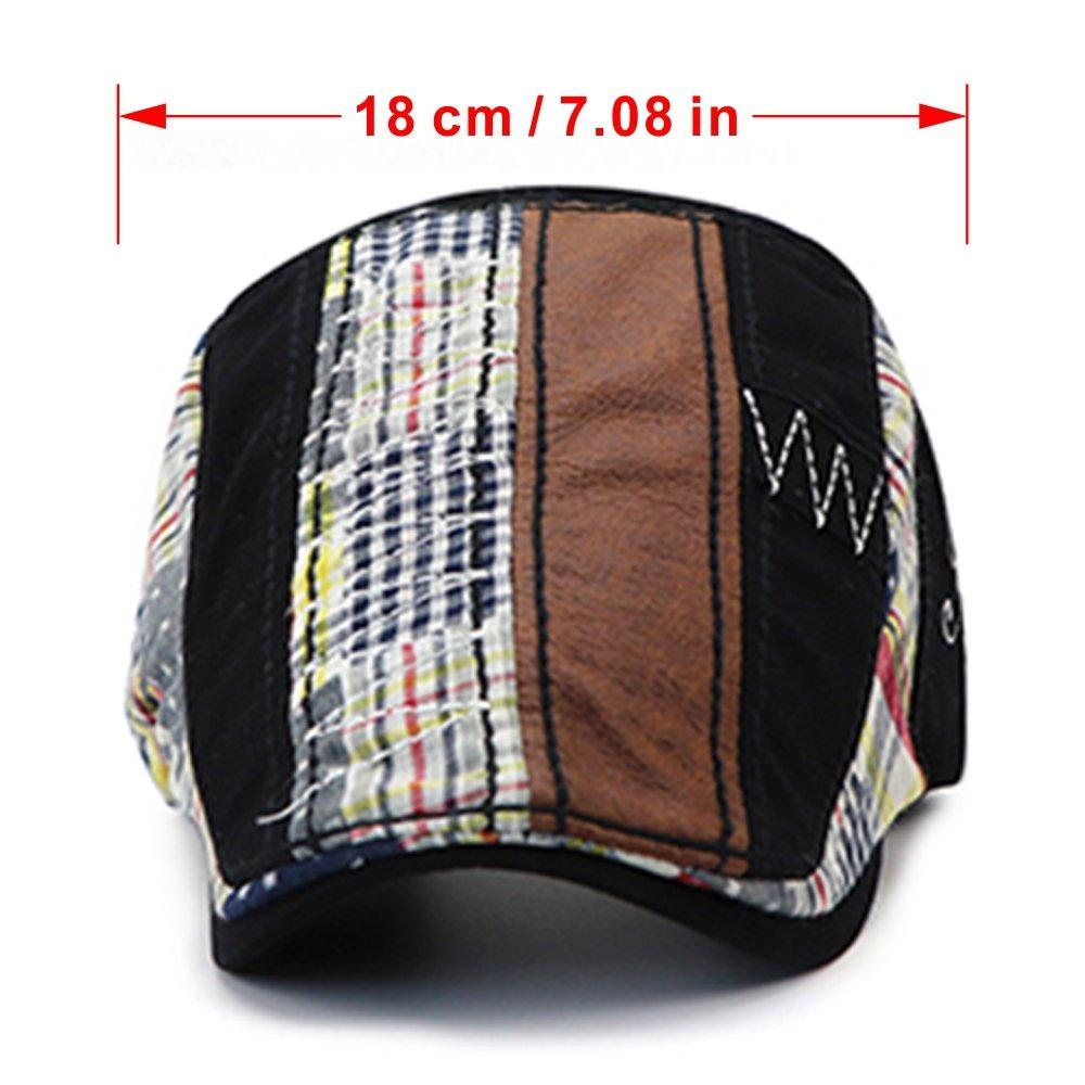 M MOACC Newsboy Hats for Men,Cotton Beret Cap Ivy Irish Cabbie Caps Driving Flat Hat Snap Adjustable Washed (Black)