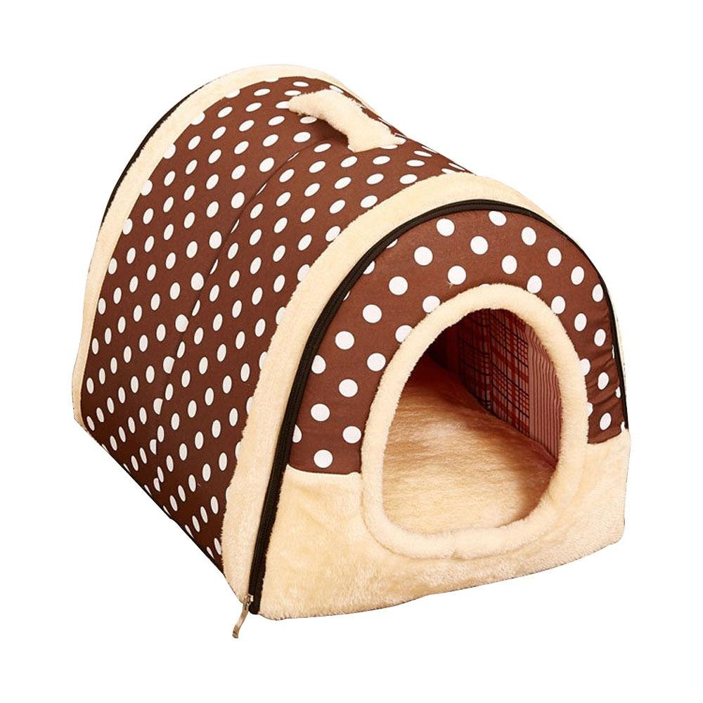 Brown Dots L Brown Dots L Cat Hut, Auoker Super Warm Enclosed Cat Bed Made of Long Fleece, Removable and Washable, Dual-Use As Thick Cushion, Portable Cat Yurt Tent for Cat Dog Rabbit and Other Pets Brown Dots L