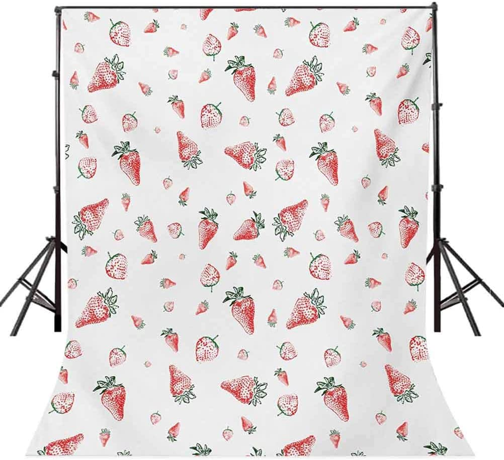 Strawberry 6.5x10 FT Backdrop Photographers,Grunge Pattern with Tropical Fruits Healthy Living Organic Eating Background for Baby Shower Birthday Wedding Bridal Shower Party Decoration Photo Studio