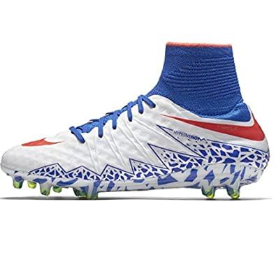 timeless design 65f28 19c6d Nike Women s Hypervenom Phantom II FG Soccer Cleats (White Bright  Crimson Racer Blue
