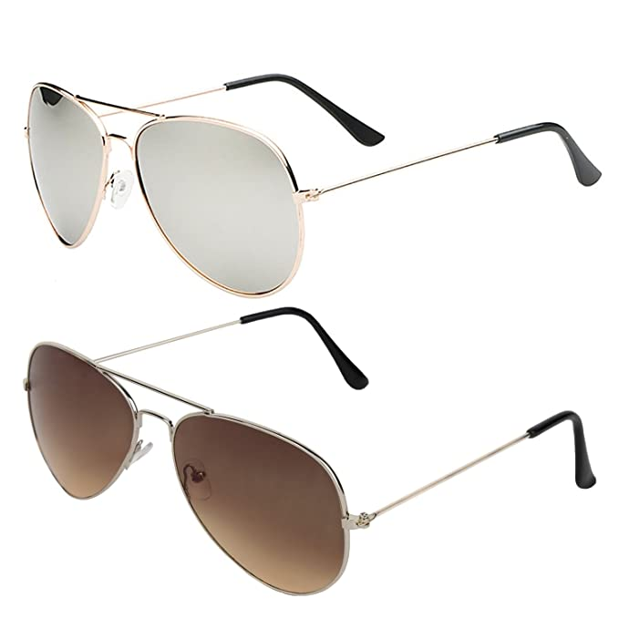 3e5db67ab86 SHEOMY COMBO OF STYLISH GOLDEN SILVER MERCURY AVIATOR AND SILVER BROWN AVIATOR  SUNGLASSES WITH 2 BOX Best Online Gifts  Amazon.in  Clothing   Accessories