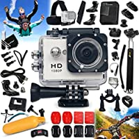 UNDERWATER Digital Camera / Camcorder HD 1080p KoolCam AC200 + PRO Accessories Kit Includes: Head Strap + Helmet Mount + + Adjustable Bike Mount + Handheld Extendable MONOPOD Pole + Adjustable Tripod Mount + Long Life Battery + USB Charging Cable + + 2 J-hooks + Camera Wrist Mount + Hermetically Sealed Floating Bobber + Remote Control Wrist Mount + 2 Adhesive Flat Stickers / Flat Surface Mounts + 2 Adhesive Curved Stickers / Curved Surface Mounts + an Extra Hard UNDERWATER Cover + Assorted Camera Mounts / Clips + Screen Protectors + Mini Table Tripod + Lens Cap Keeper + Memory Card Wallet Holder + Deluxe Cleaning Kit + Ultra Fine HeroFiber Cleaning Cloth