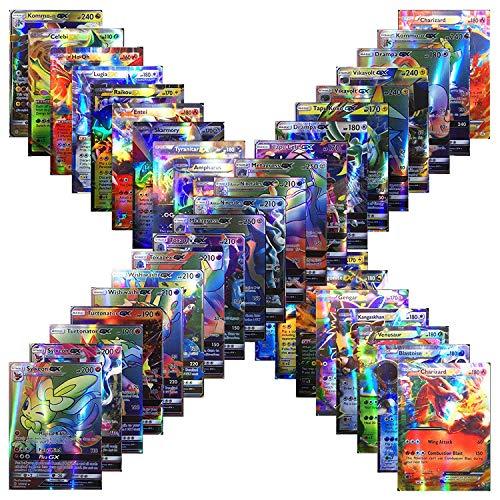 100 Pokemon Cards TCG Style Card Holo EX Full Art : 20 GX + 20 Mega + 1 Energy + 59 EX Arts with One Guaranteed GX/EX Card