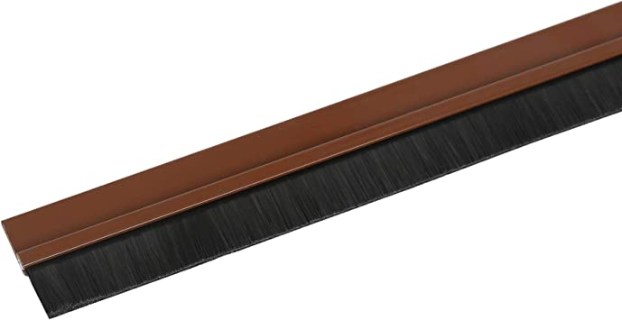Toolerando Burlete de aluminio para puertas con terminación en cepillo/Sellado aislante de aluminio con cepillo para puertas, incl. montaje adhesivo, 100 cm, marrón: Amazon.es: Bricolaje y herramientas