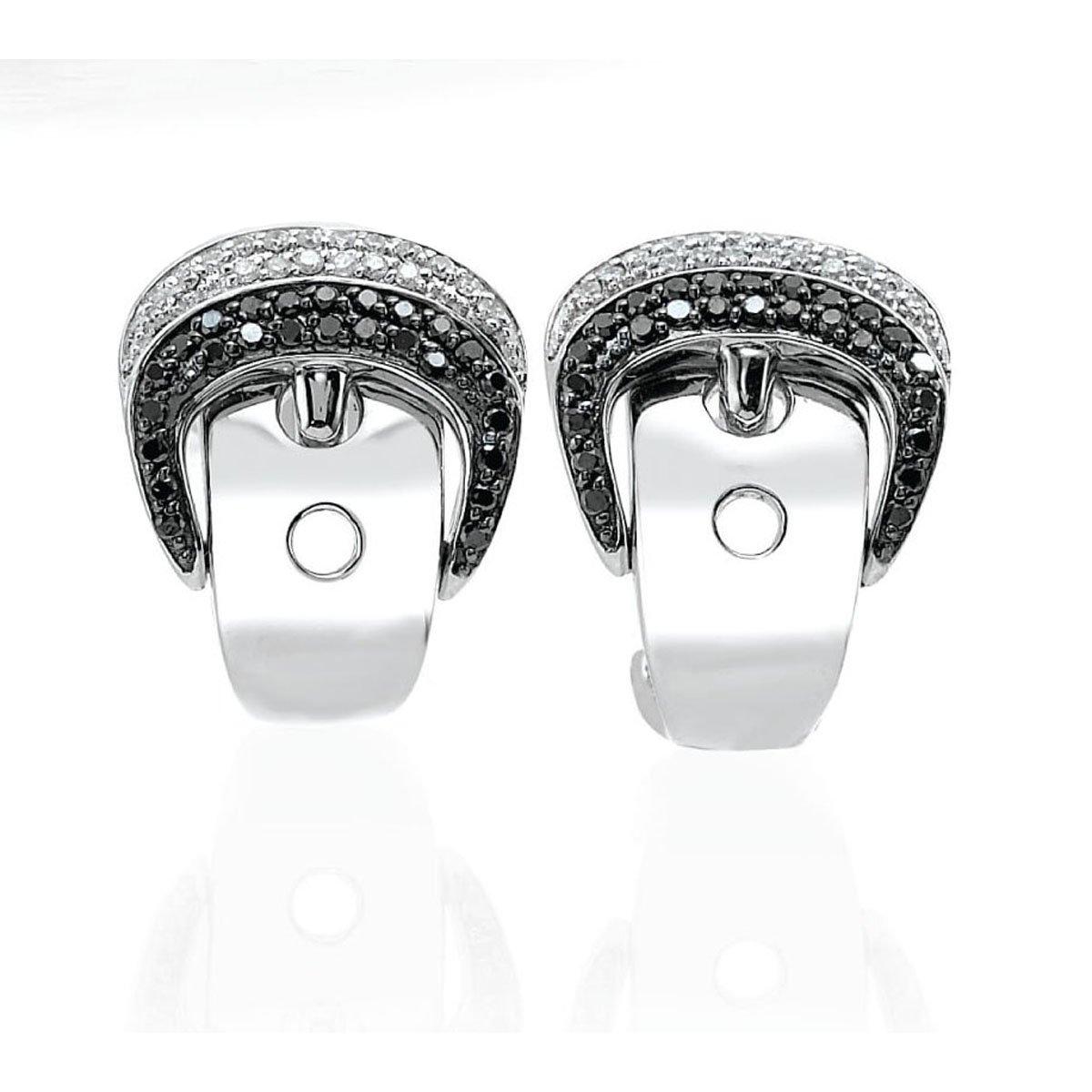 OWC Sterling Silver Blk/wht Diamond Buckle Earrings