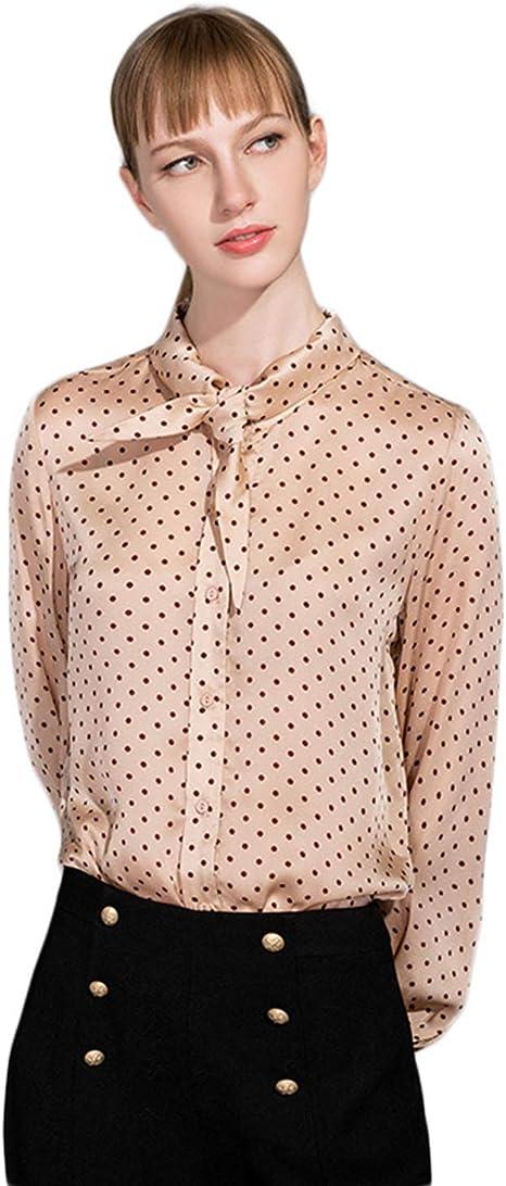 XCXDX Camisa De Manga Larga con Estampado De Lunares Y Corbata De Lazo para Mujer.: Amazon.es: Deportes y aire libre