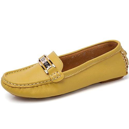 Mujer Zapatos clásicos de Cuero Genuino Mocasines Nuevo Deslizamiento de Moda en Zapatos Planos: Amazon.es: Zapatos y complementos
