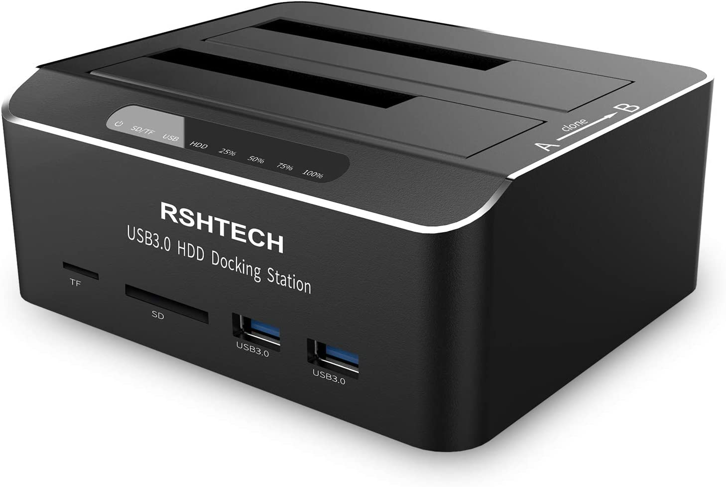 RSHTECH USB 3.0 to SATA Dual Bay External Hard Drive Dock with SD TF Card Reader for 2.5 & 3.5 Inch HDD SSD Support Offline Clone/Duplicator Function, Tool-Free Docking Station (2x12TB Supported)