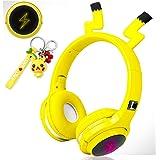 Audífonos inalámbricos para niños, niñas, mujeres, audífonos Bluetooth de diadema color amarillos para smartphones, iPhone, i