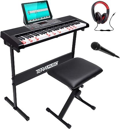 Bakaji - Teclado musical plano electrónico, 61 teclas luminosas, piano multifunción con soporte, taburete y auriculares, 255 ritmos, entrada AUX y ...