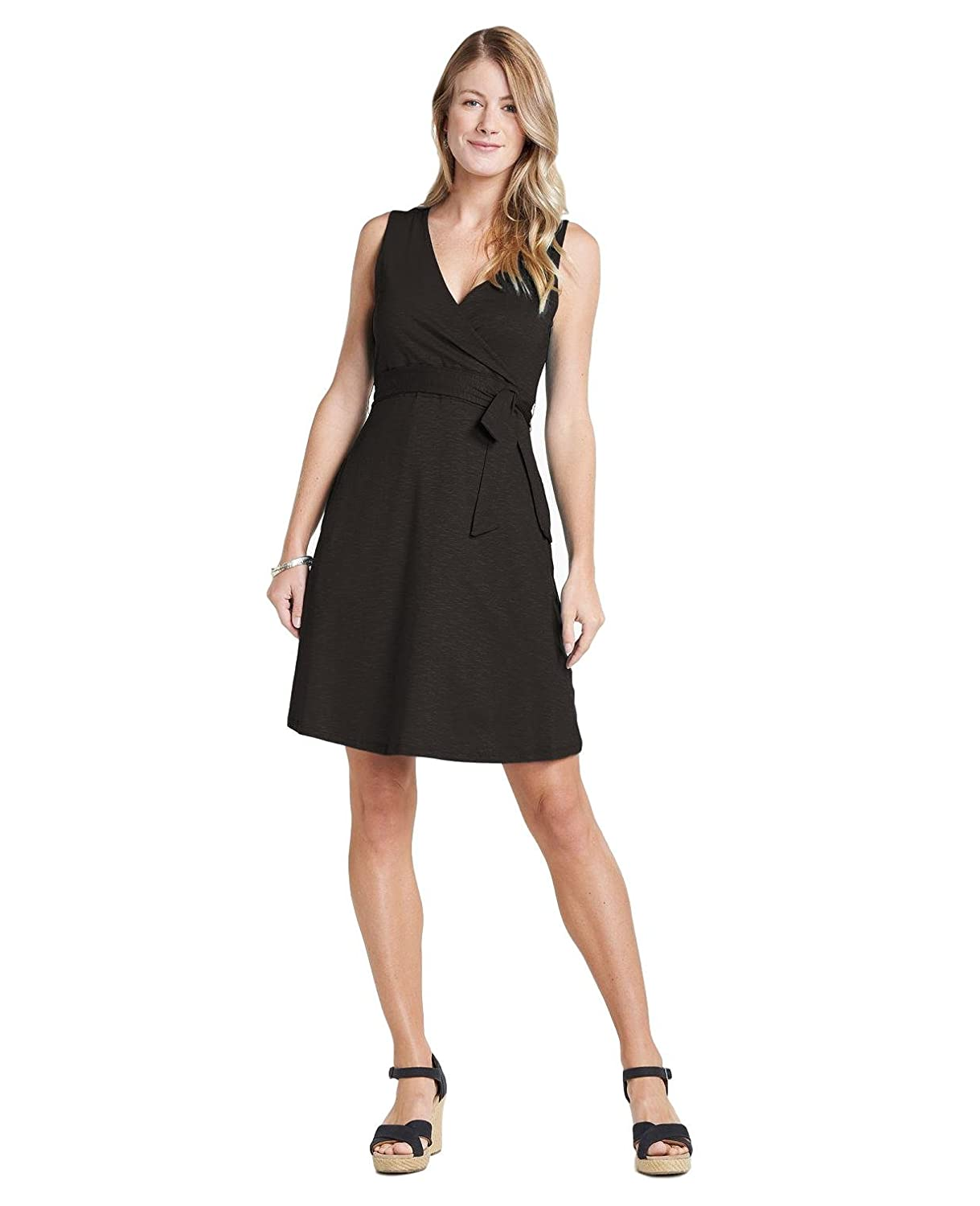 Black Small Toad&Co Cue Wrap SL Dress - Women's