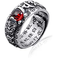 990 Sterling Silver Retro Red Chalcedony Ring, Six-Syllabled Sanskrit Mantra Adjustable Finger Ring for Men