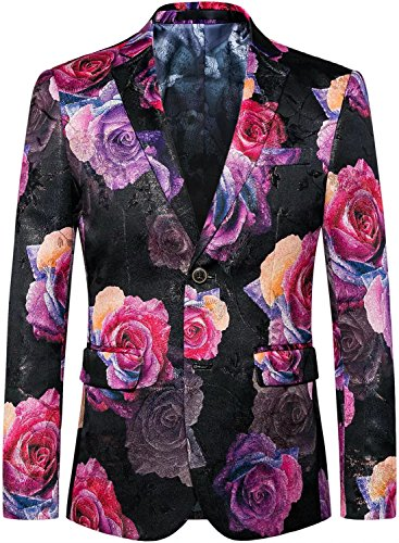 (Men's Fashion Pink Flowers Separate Jacket Blazer Suit Sport Coat, Rose Red, S/36 = Tag XL)