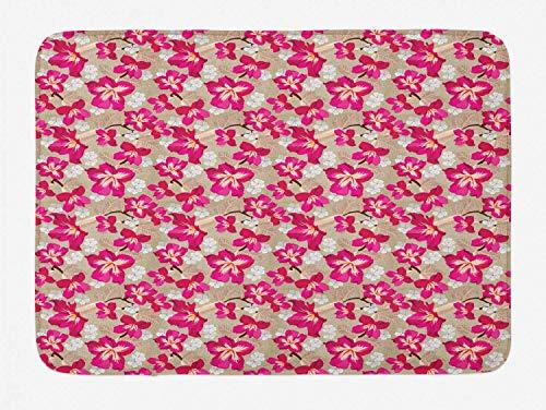 (YVSXO Flower Bath Mat, Tropical Blooms Hibiscus Petals Caribbean Vibes Aloha Seascape Summer Pattern, Plush Bathroom Decor Mat with Non Slip Backing, 31.5 W X 19.68 L Inches, Tan Magenta)
