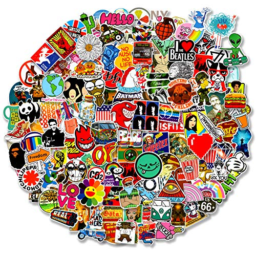 200 pcs Cool Random Stickers Vinyl Skateboard Stickers, Variety Pack for Laptop Hydro Flask Guitar Travel Case Water Bottle Car Luggage Bike Sticker Waterproof Graffiti Decals,Gift for Teens Adult