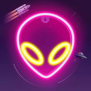 ifreelife Alien Neon Lights for Wall Decor Battery/USB Operated Decorative Led Neon Signs Pink-Yellow Alien Neon Signs Light up for Home,Kids Room,Bar,Festival,Birthday,Christmas,Wedding Party