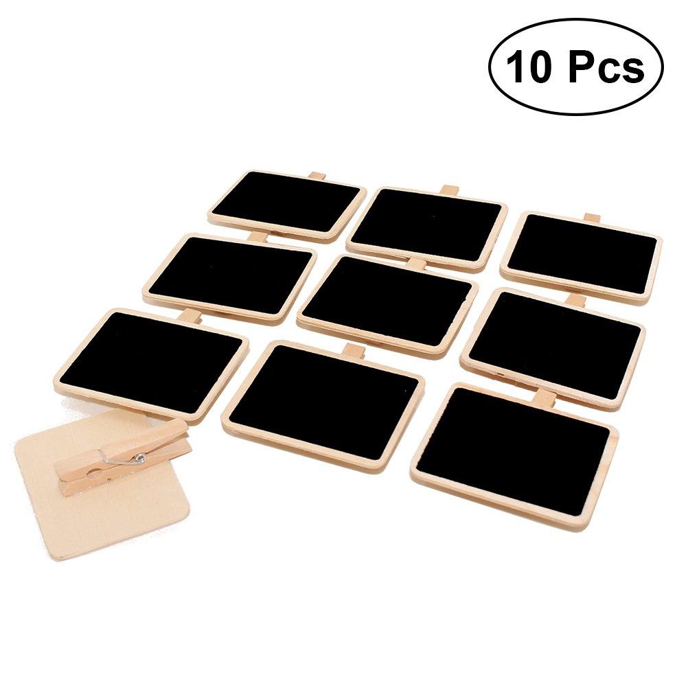 Healifty MINI Lavagna decorativa con clip mollette foto in legno per decorazione 10PCS