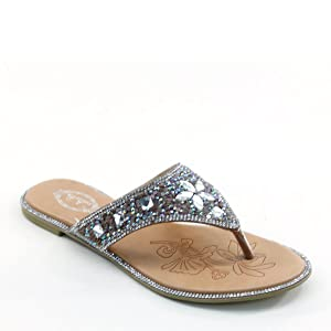 New Brieten Women's T Strap Rhinestone Flip Flops Flat Slipper Sandals (5.5, Turquoise)