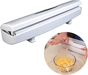 Plastic Wrap Cutter, Food Freshness Dispenser Preservative Film Unwinding Cutting Foil & Wax Paper Cling Wrap Kitchen Accessories - Easy to Use, Just Pull, Press, Cut and Wrap (White 1)