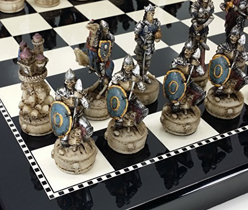 Skeleton Slayer Gothic Skull Chess Set W/ High Gloss Black & White Board