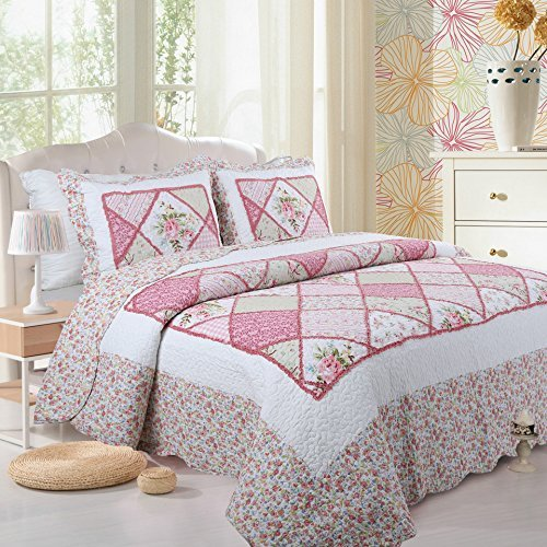 Luxury 3-Piece Patchwork Quilt Set with Shams Soft Reversible All-Season Cotton Bedspread & Coverlet with Lovely Pink Countryside Plaid Design,Full/Queen,90