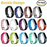 Fitbit Alta Best Deals - HWHMH Colorful Silicone Replacement Secure Band with Chrome Watch Clasp and Fastener Buckle for Fitbit Alta Only - Fix the Tracker Fall Off Problem (14PCS Bands)