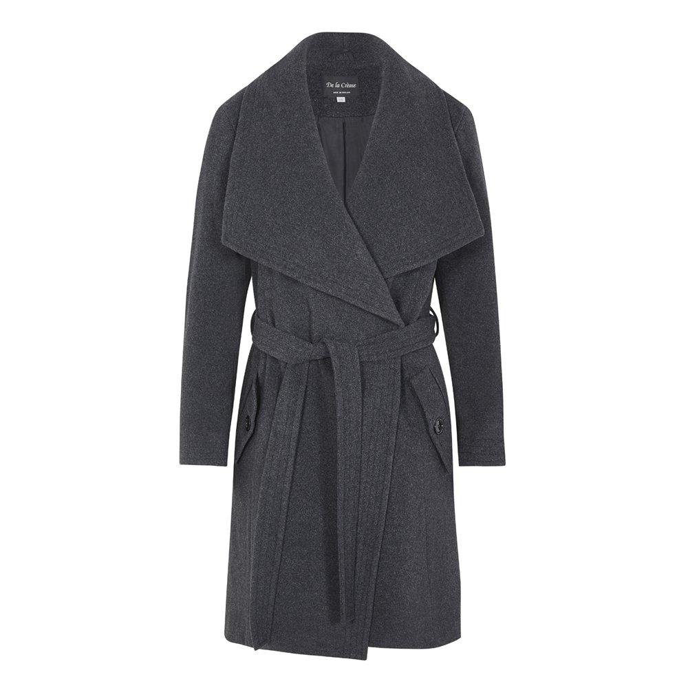 De La Creme -Women`s Winter Wool Cashmere Wrap Coat with Large Collar