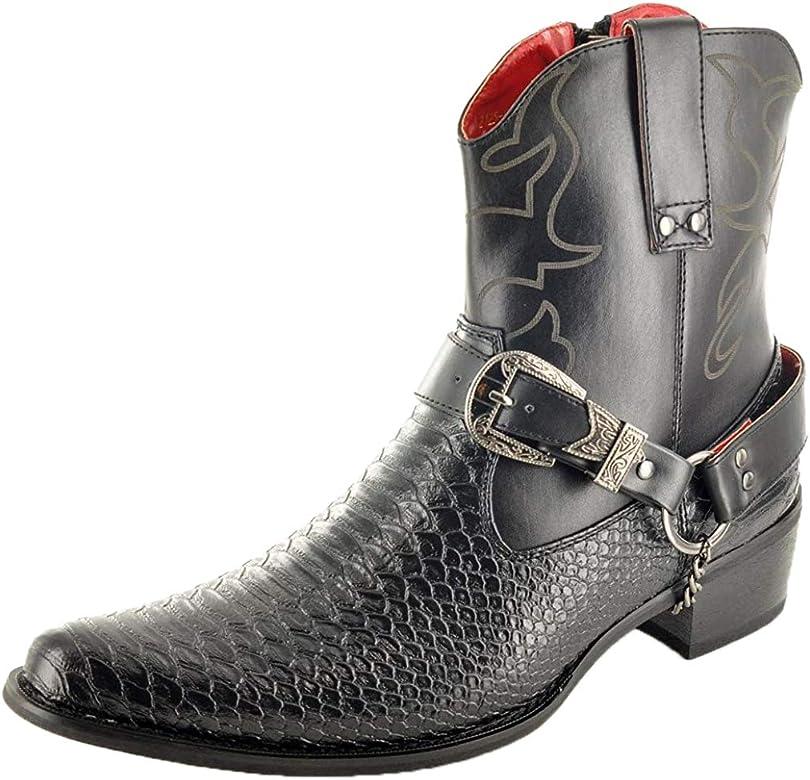 Botas para hombre, con cremallera, hasta el tobillo, de piel de serpiente, estilo vaquero, color Negro, talla 41: Amazon.es: Zapatos y complementos