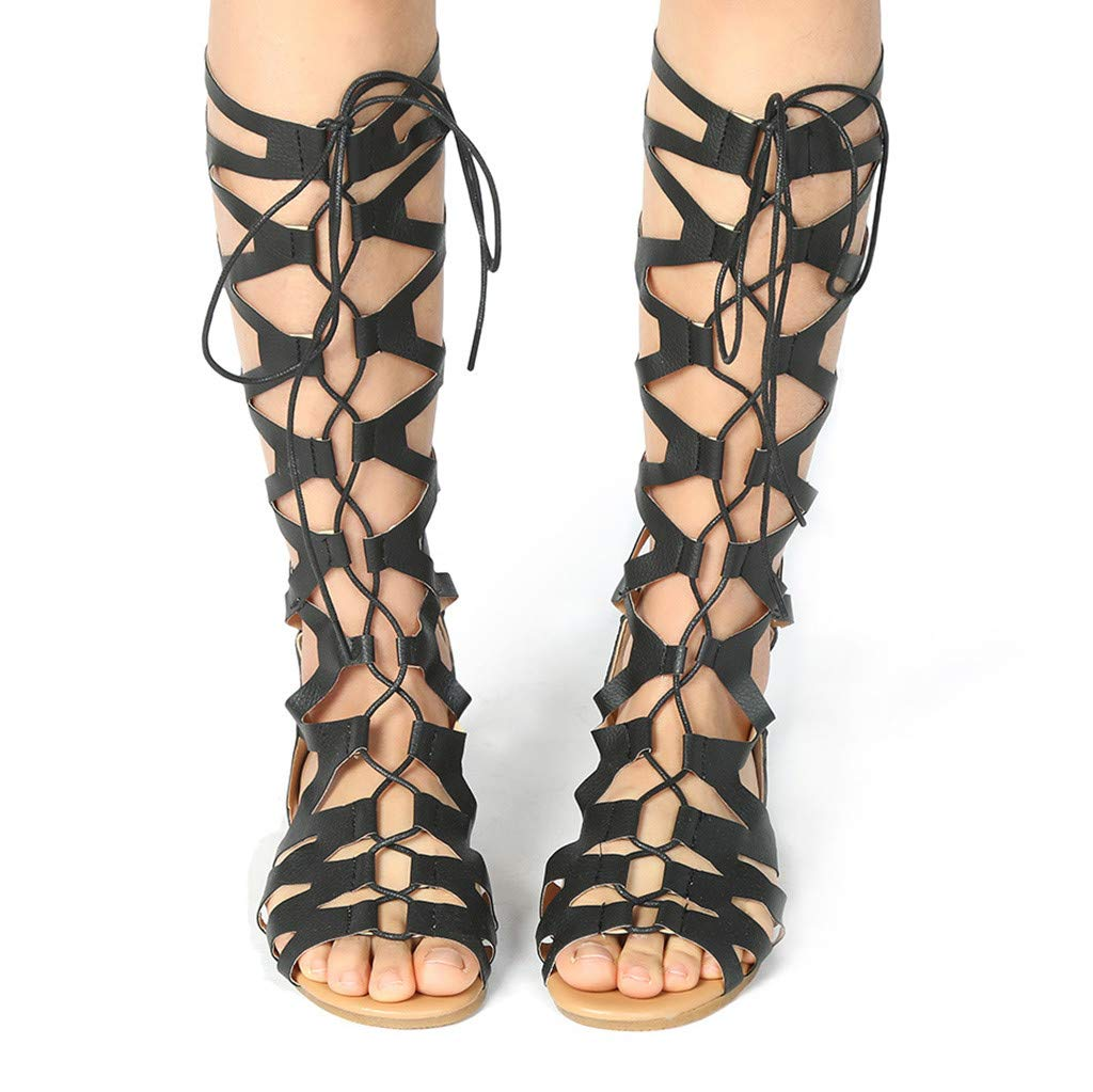 Women Casual Flats Knee High Boots - Ladies Fashion Roma Shoes Summer Sandals,2019 New by WOMEN SHOES BIG PROMOTION-SUNSEE (Image #6)