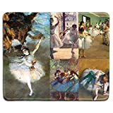dealzEpic - Art Mousepad - Natural Rubber Mouse Pad Printed with Edgar Degas Paintings of Ballet Dancers Art Collage - Stitched Edges - 9.5x7.9 inches