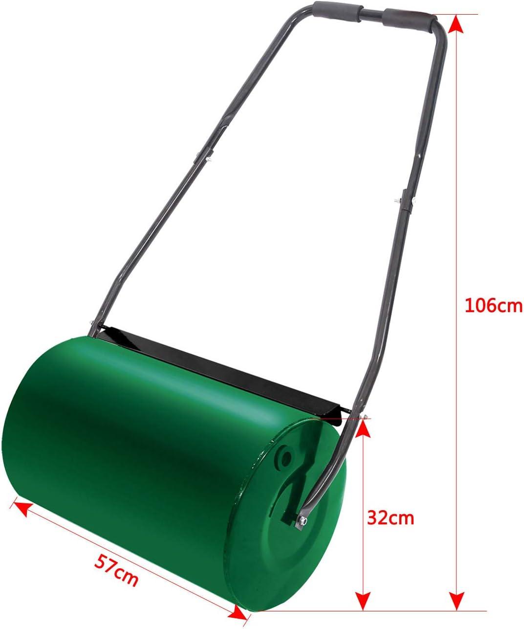 32cm de diam/ètre Capacit/é 46L Vert Aufun Rouleau /à Gazon /à Main 57 cm Largeur de Rouleau