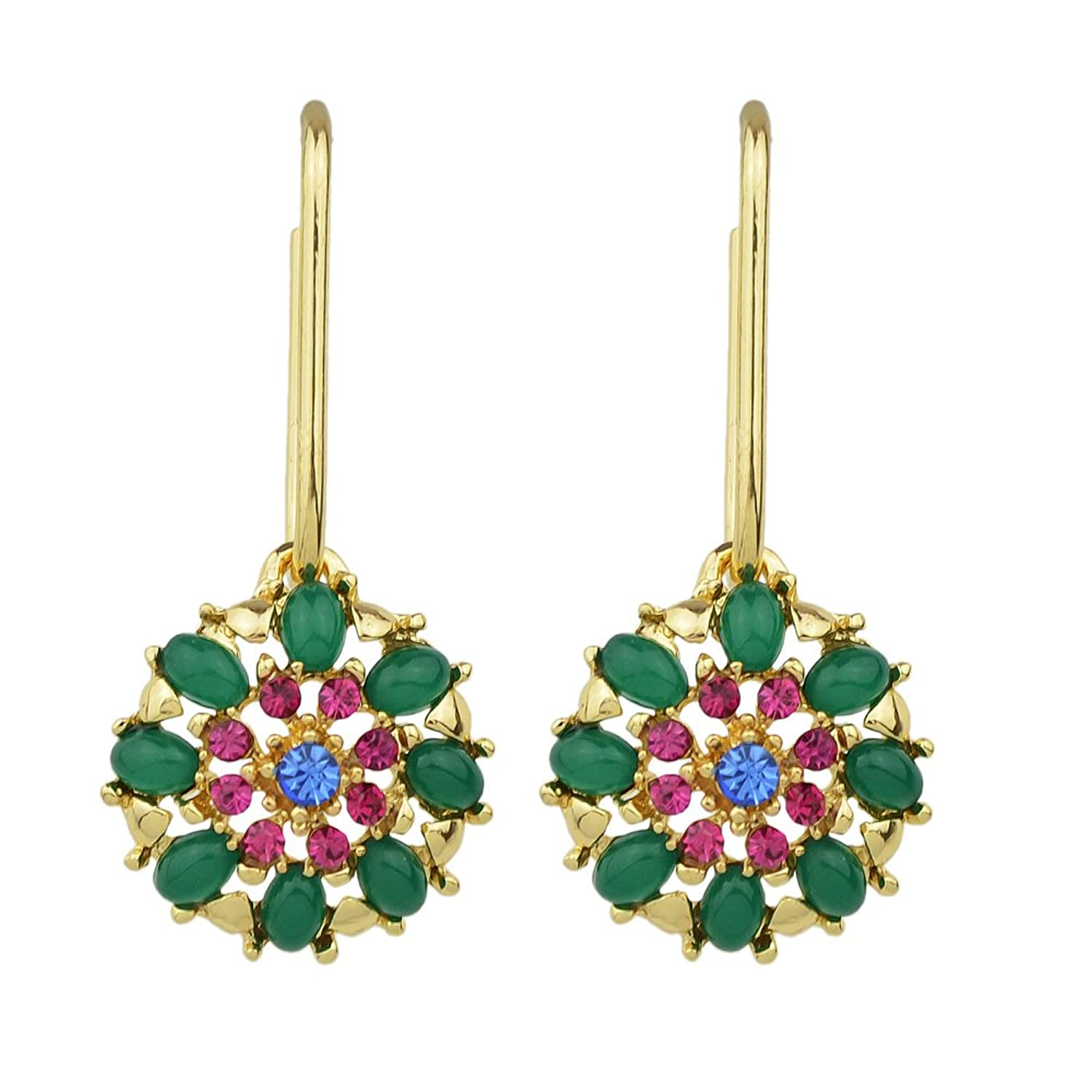 Feelontop New Green Beads Hotpink Blue Crystal Round Hoop Flow Drop Earring Gold Tone with Jewelry Pouch