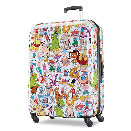 - American Tourister Kids' Nickelodeon 90s Mash Up Hardside Spinner 28, White/Orange