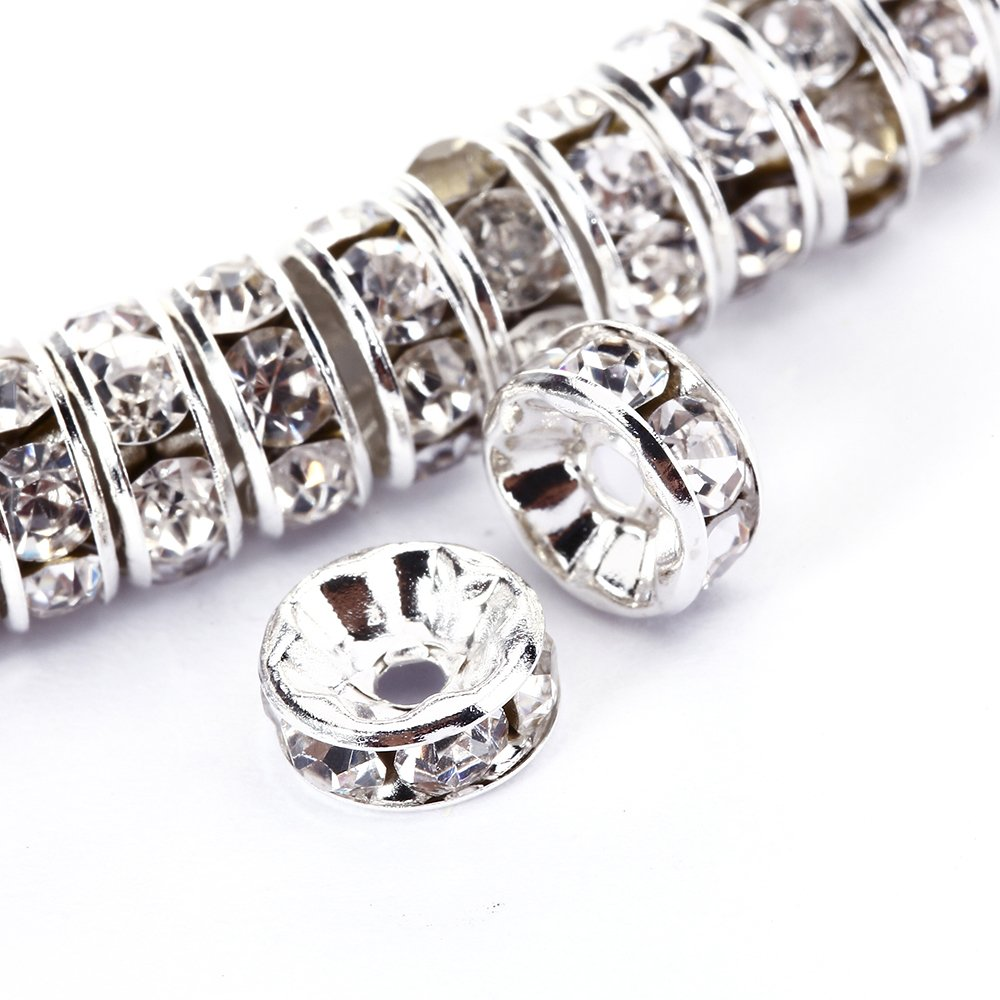 BRCbeads 8mm Silver Plated Crystal Rondelle Spacer Beads 100pcs per bag for jewelery making(#001 Clear Crystal) by BRCbeads 8 mm Silver Plated/#001 Clear Crystal B00T9G8WPG
