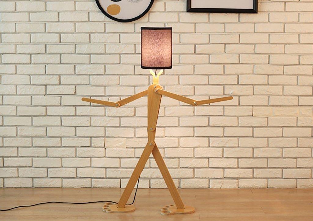 stehlampe Einstellbare Haltung des hölzernen modernen kreativen Beleuchtunghotelsschlafzimmerraumwohnzimmers menschliche Stehlampe Standleuchten (Farbe : A) Shou S
