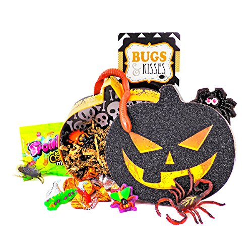 'Bugs and Kisses' Halloween Candy Chocolate Hershey Kisses Jack O' Lantern Gift Basket (Halloween Candy Baskets)