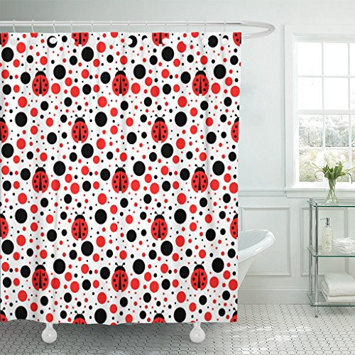 MAYTEC Shower Curtain Black Bug Ladybug Blue Lady Waterproof Polyester Fabric 72 x 72 inches Set with Hooks Ladybug Hooks